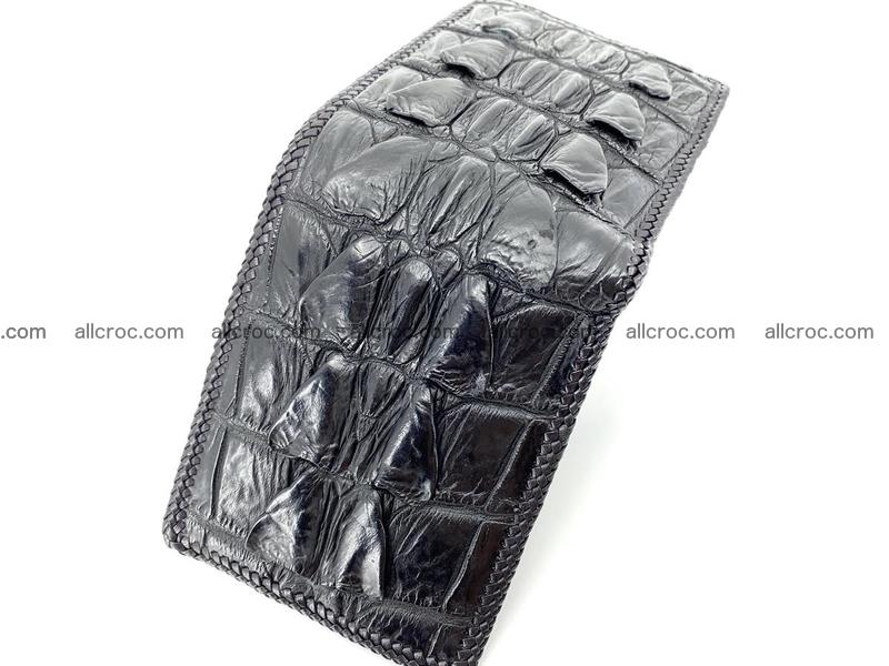 Crocodile skin bifold wallet tail part with braided trim 907
