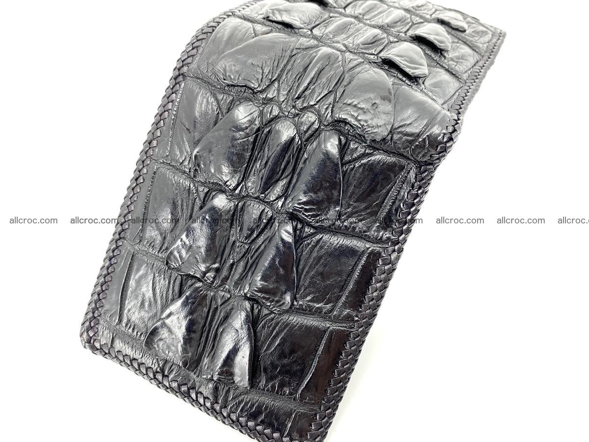 Crocodile skin bifold wallet tail part with braided trim 907 Foto 17