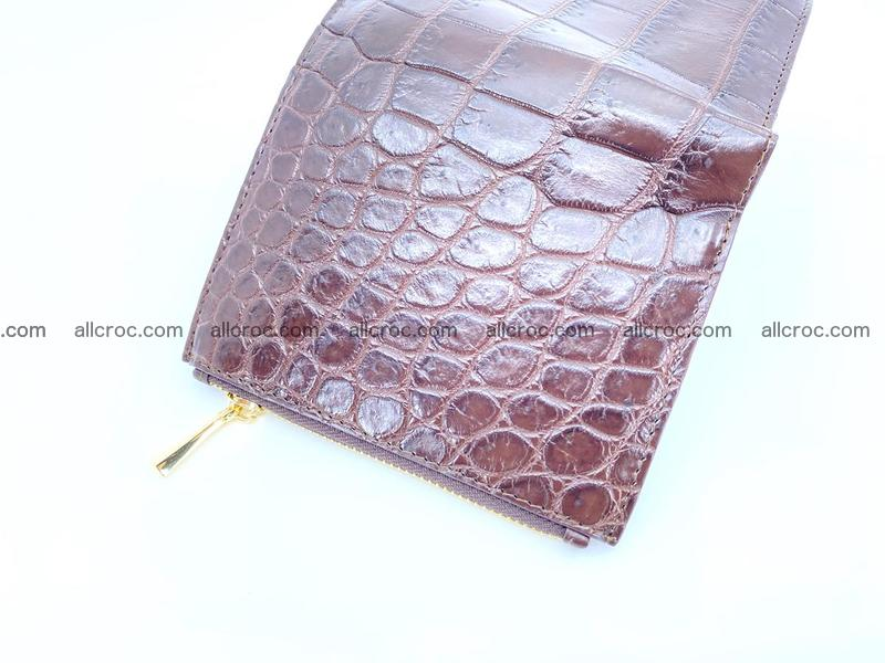Crocodile skin vertical wallet HK 2 zips 1051