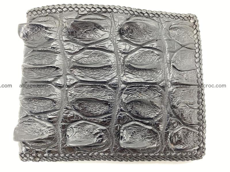 Crocodile skin bifold wallet tail part with braided trim 906
