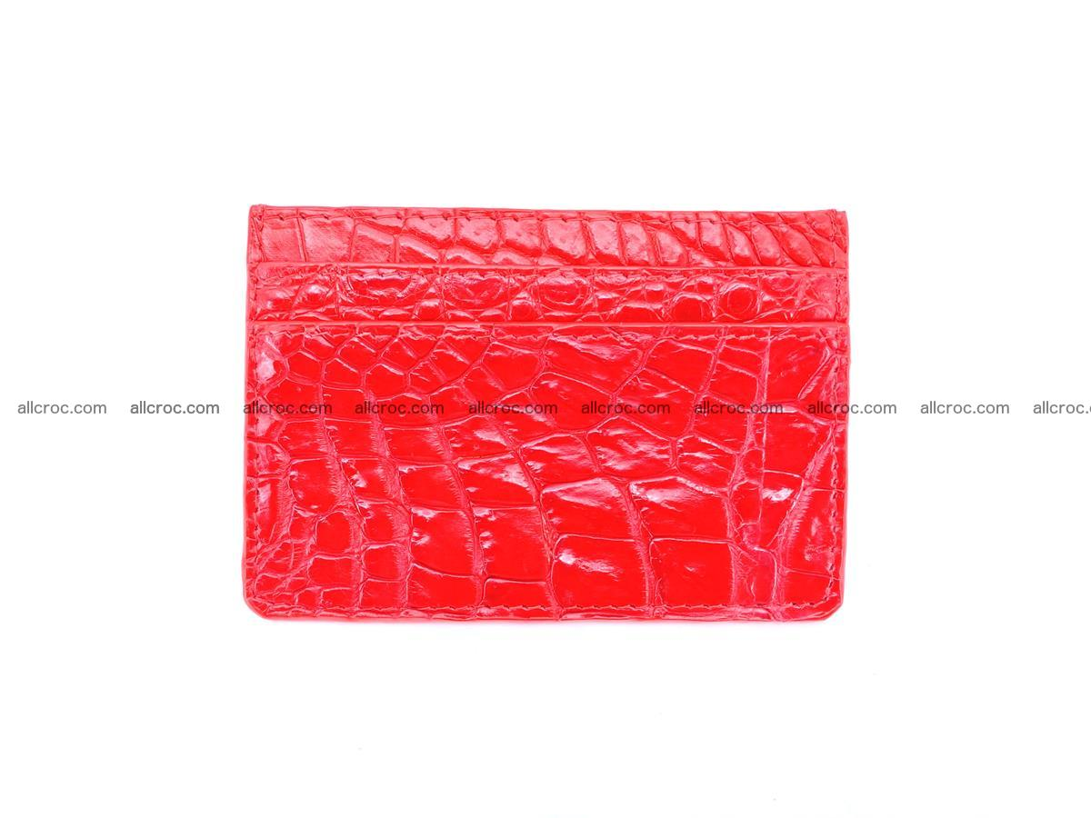 Card holder from crocodile skin red color 987 Foto 1