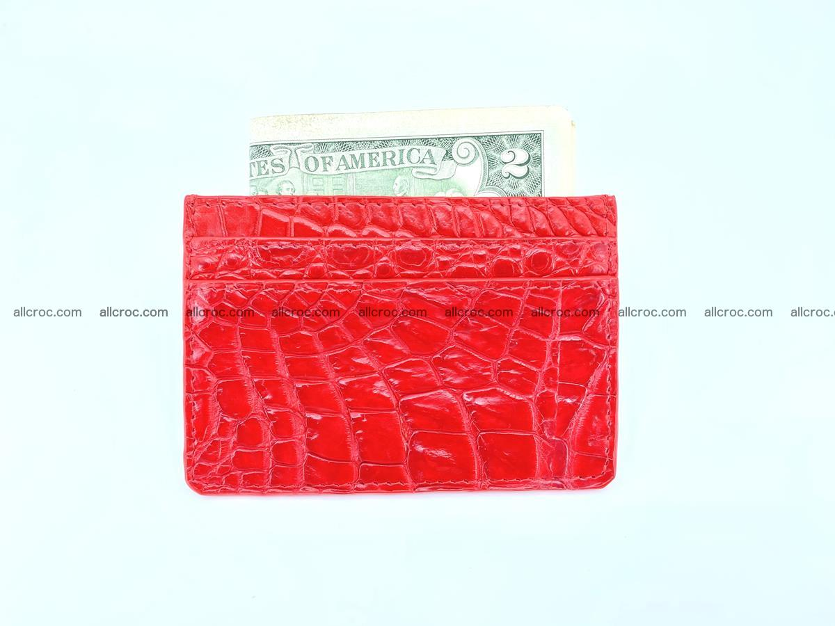 Card holder from crocodile skin red color 987 Foto 2