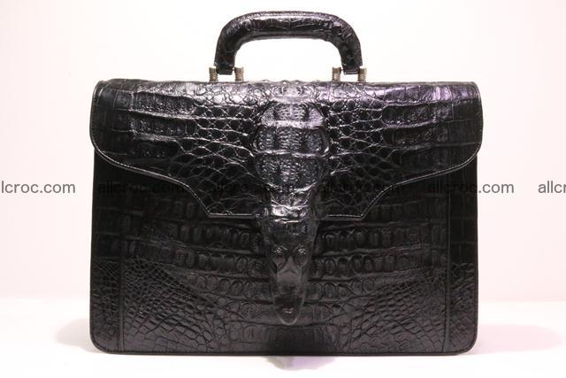 Crocodile skin briefcase with crocodile head 290 Foto 0