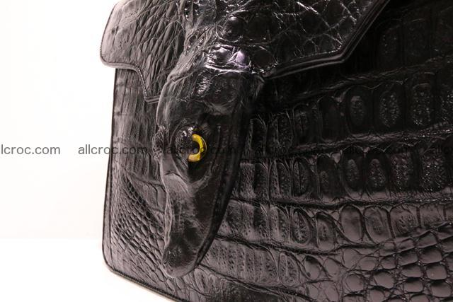 Crocodile skin briefcase with crocodile head 290 Foto 3
