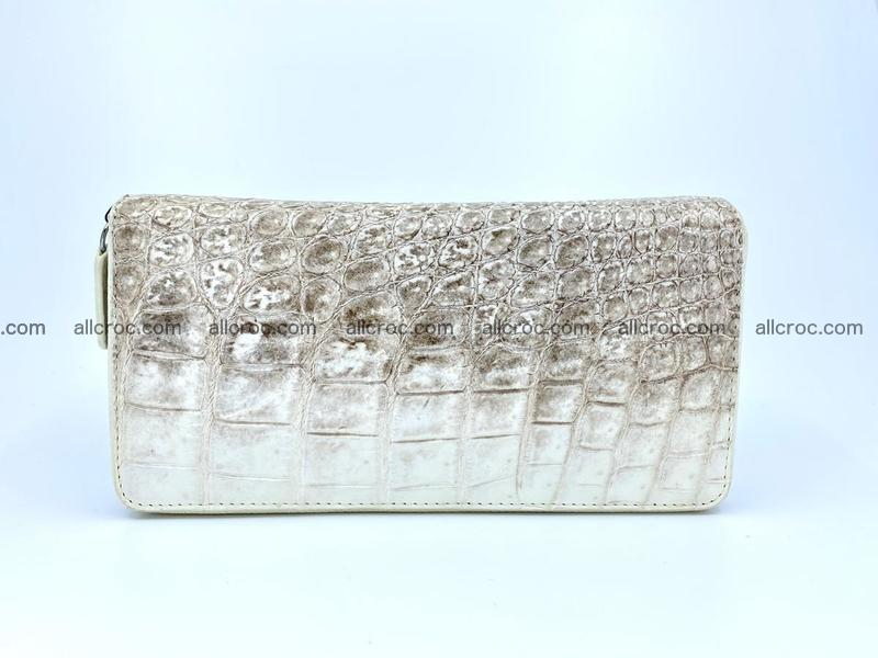 Crocodile leather wallet 2 zips 528