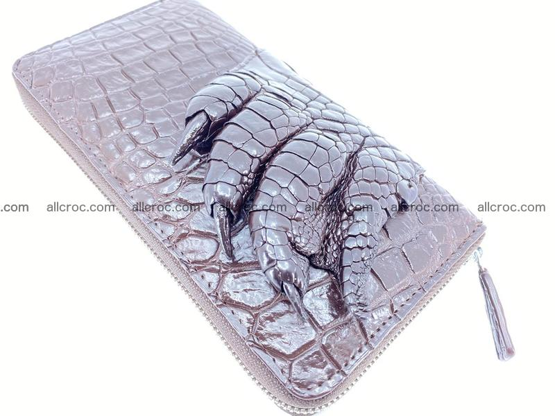 Crocodile leather wallet with crocodile paw 1 zip 541