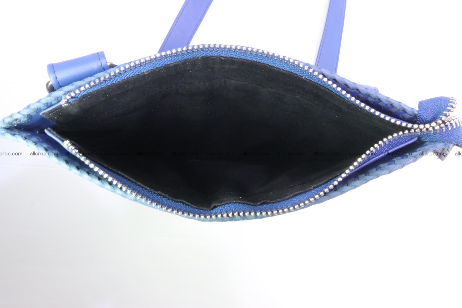 Crocodile skin shoulder bag hand braided edges 128 Foto 10