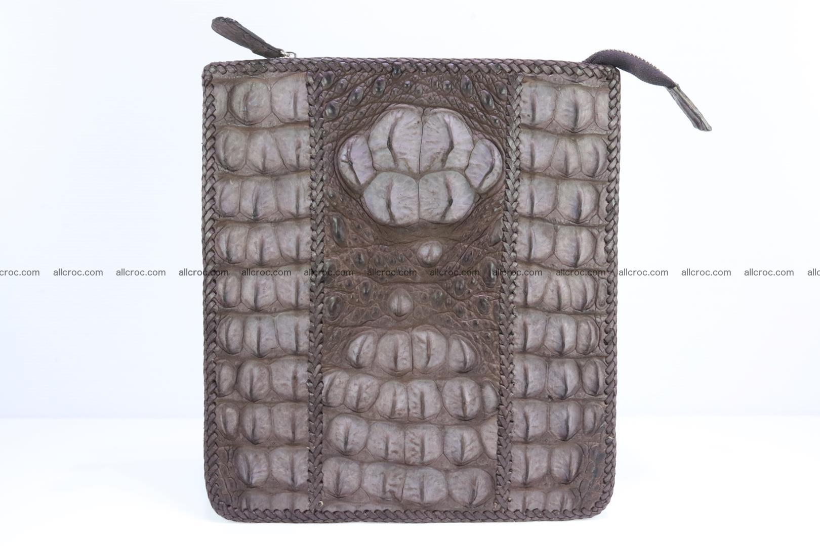 Crocodile skin shoulder bag hand braided edges 129 Foto 0