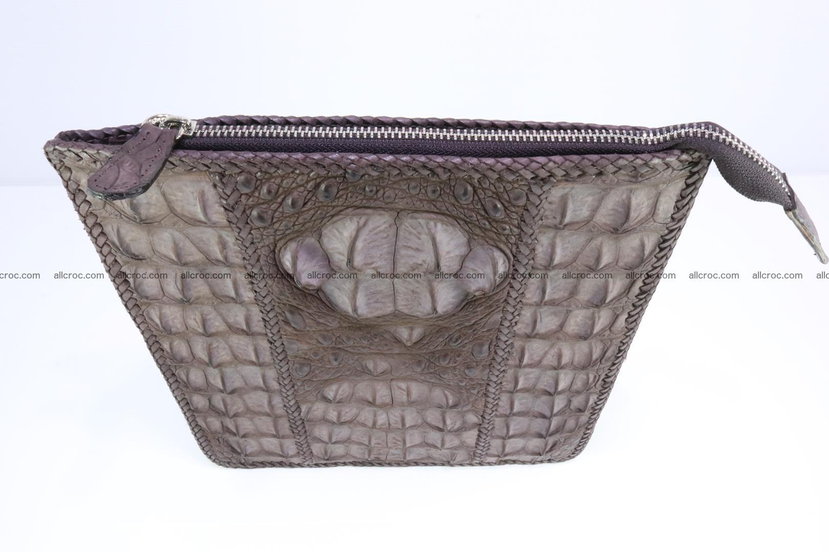Crocodile skin shoulder bag hand braided edges 129 Foto 4