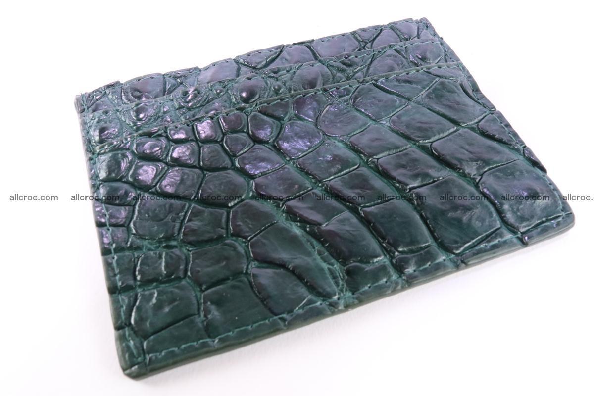 Card holder from Siamese crocodile skin dark green color 372 Foto 0