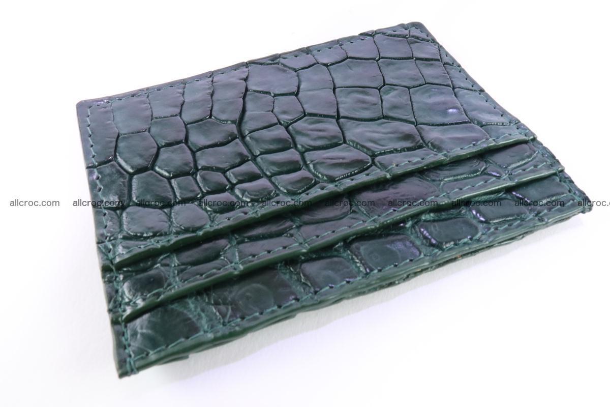 Card holder from Siamese crocodile skin dark green color 372 Foto 1