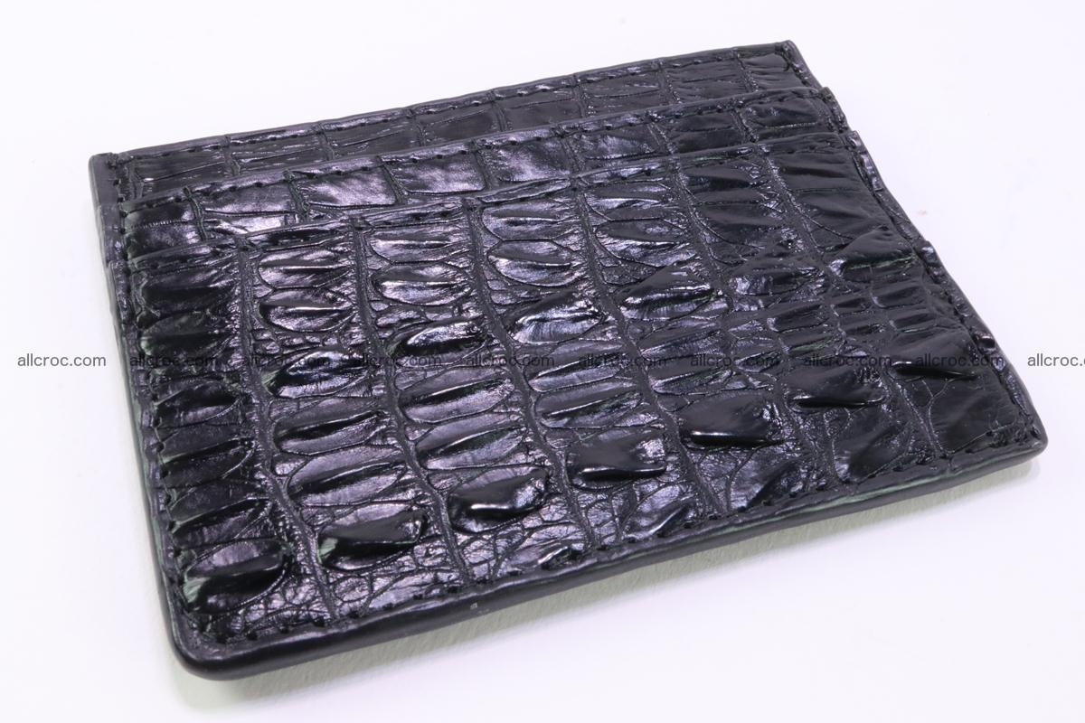 Card holder from tail part of Siamese crocodile skin black color 376 Foto 0