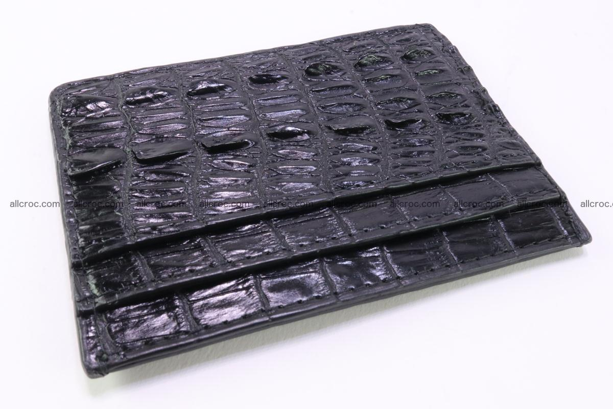 Card holder from tail part of Siamese crocodile skin black color 376 Foto 1