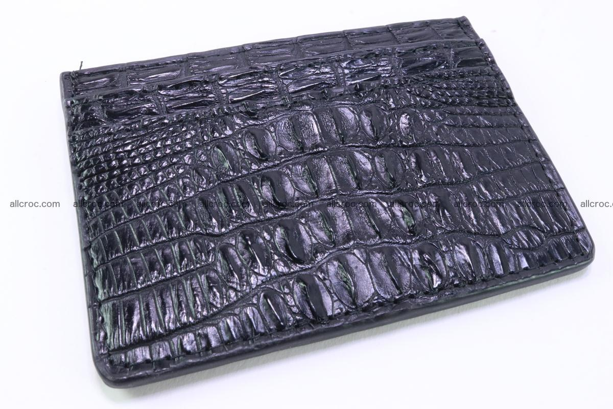 Card holder from tail part of Siamese crocodile skin black color 377 Foto 0