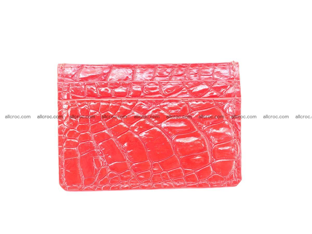 Card holder from Siamese crocodile skin red color 368 Foto 1