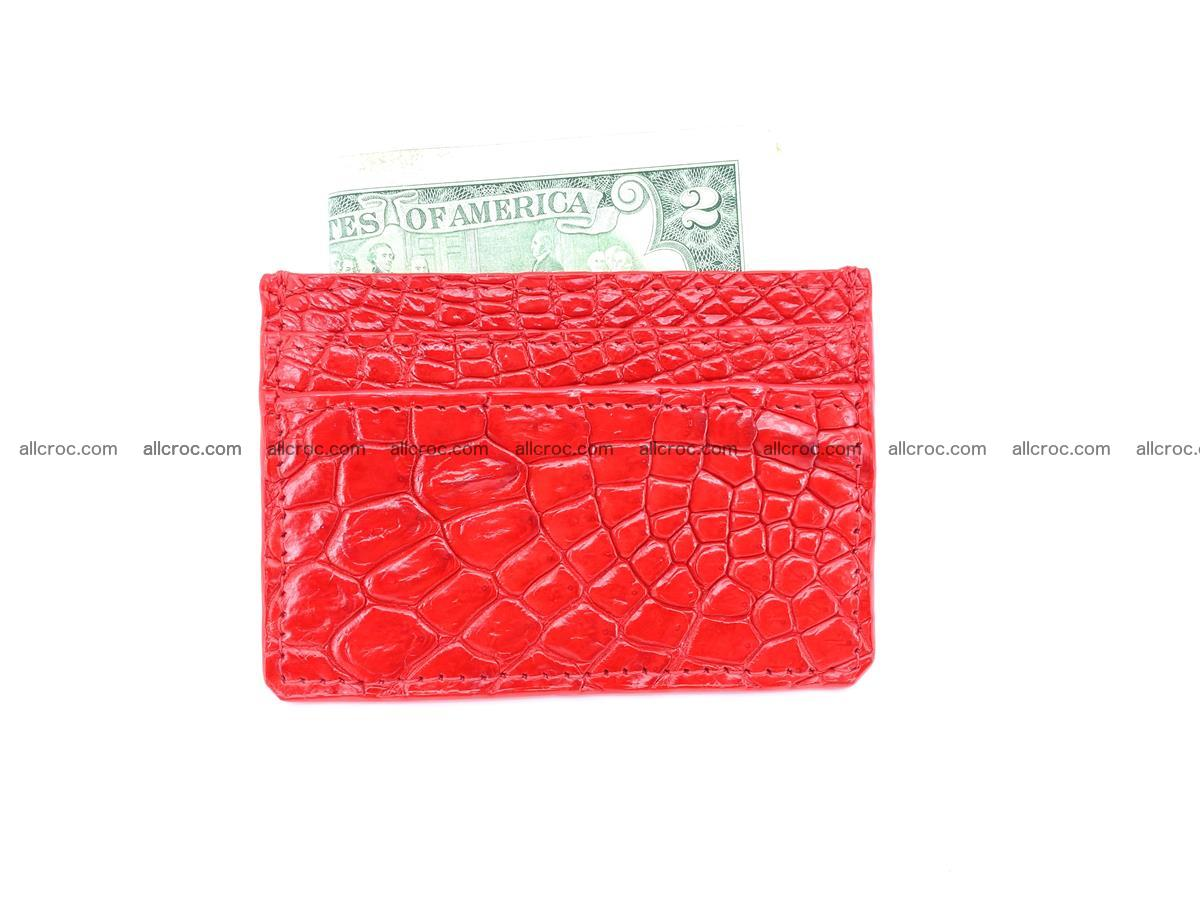 Card holder from Siamese crocodile skin red color 368 Foto 3