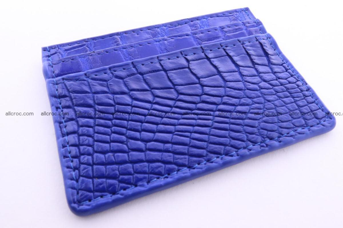 Card holder from Siamese crocodile skin blue color 369 Foto 0