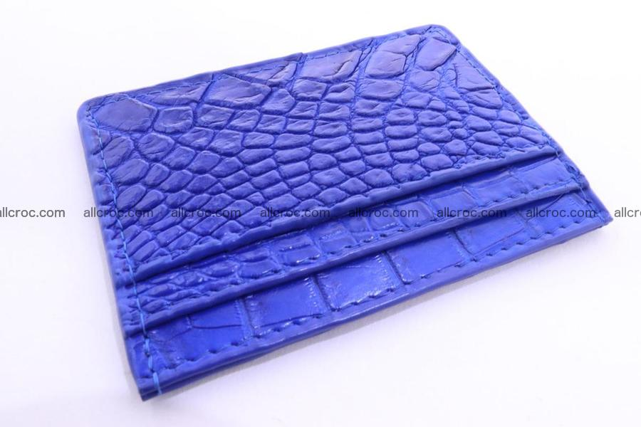 Card holder from Siamese crocodile skin blue color 369