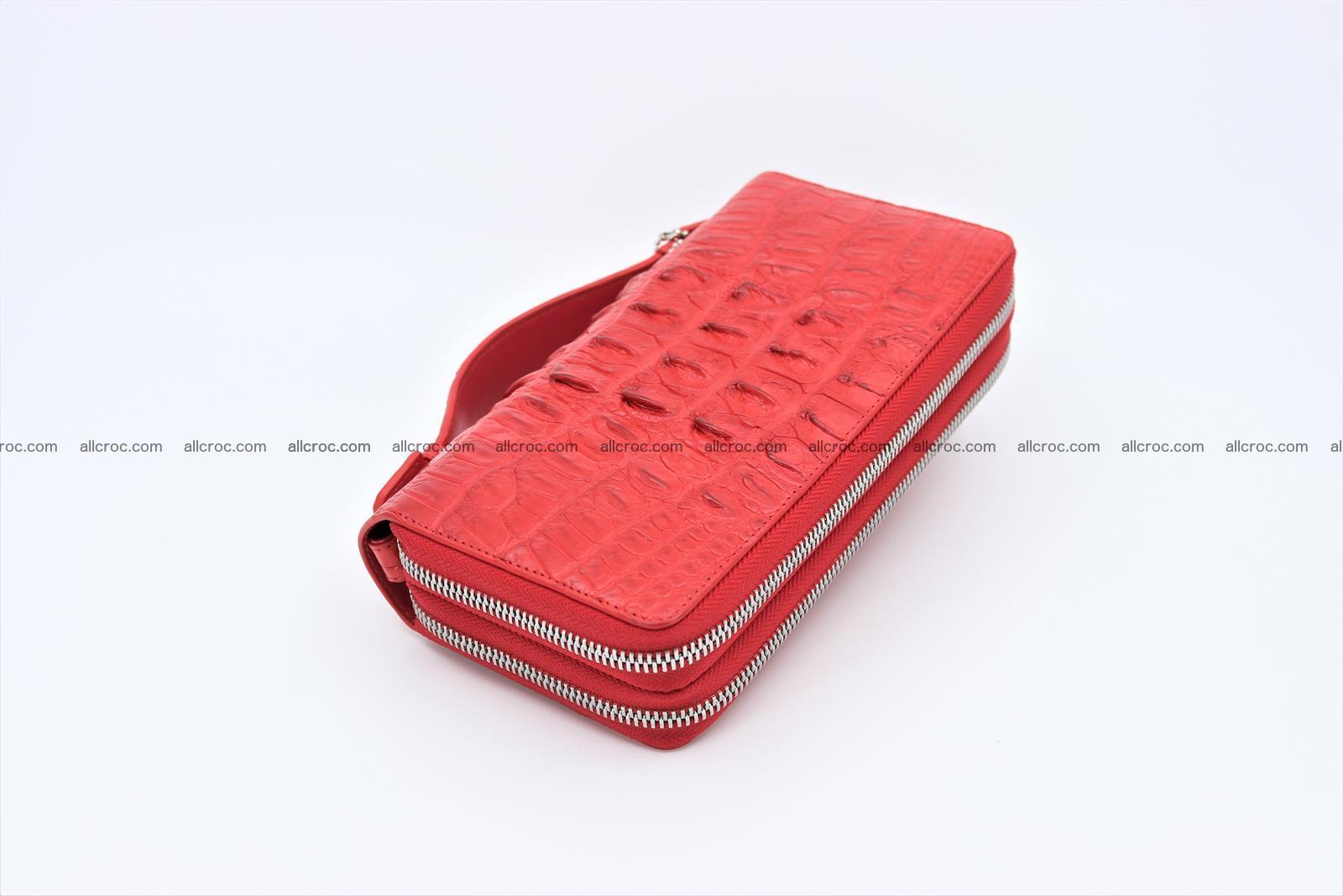 Crocodile skin clutch red color 2 zips 1263 Foto 3