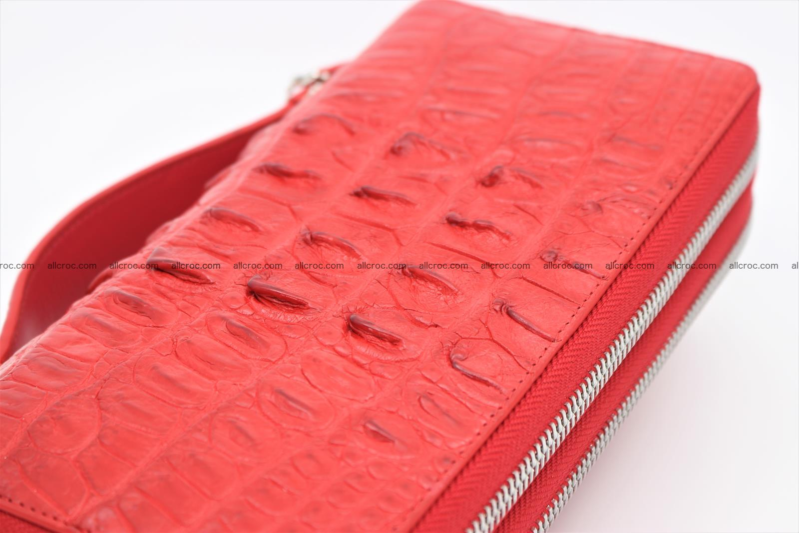 Crocodile skin clutch red color 2 zips 1263 Foto 4