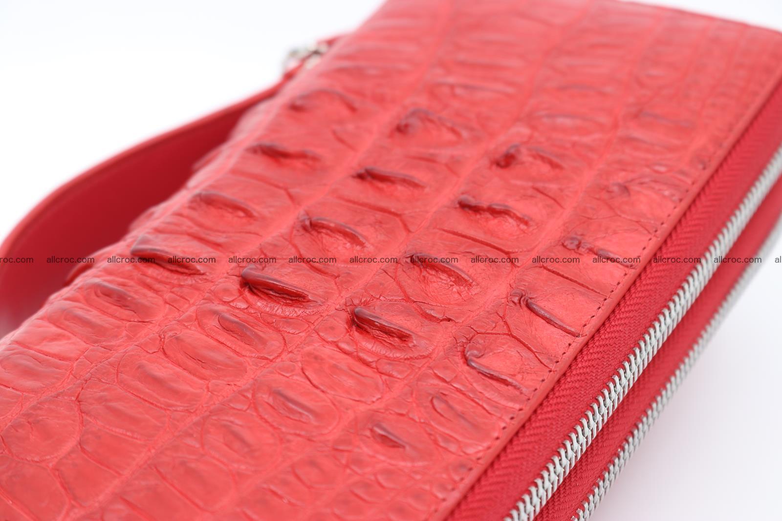 Crocodile skin clutch red color 2 zips 1263 Foto 5