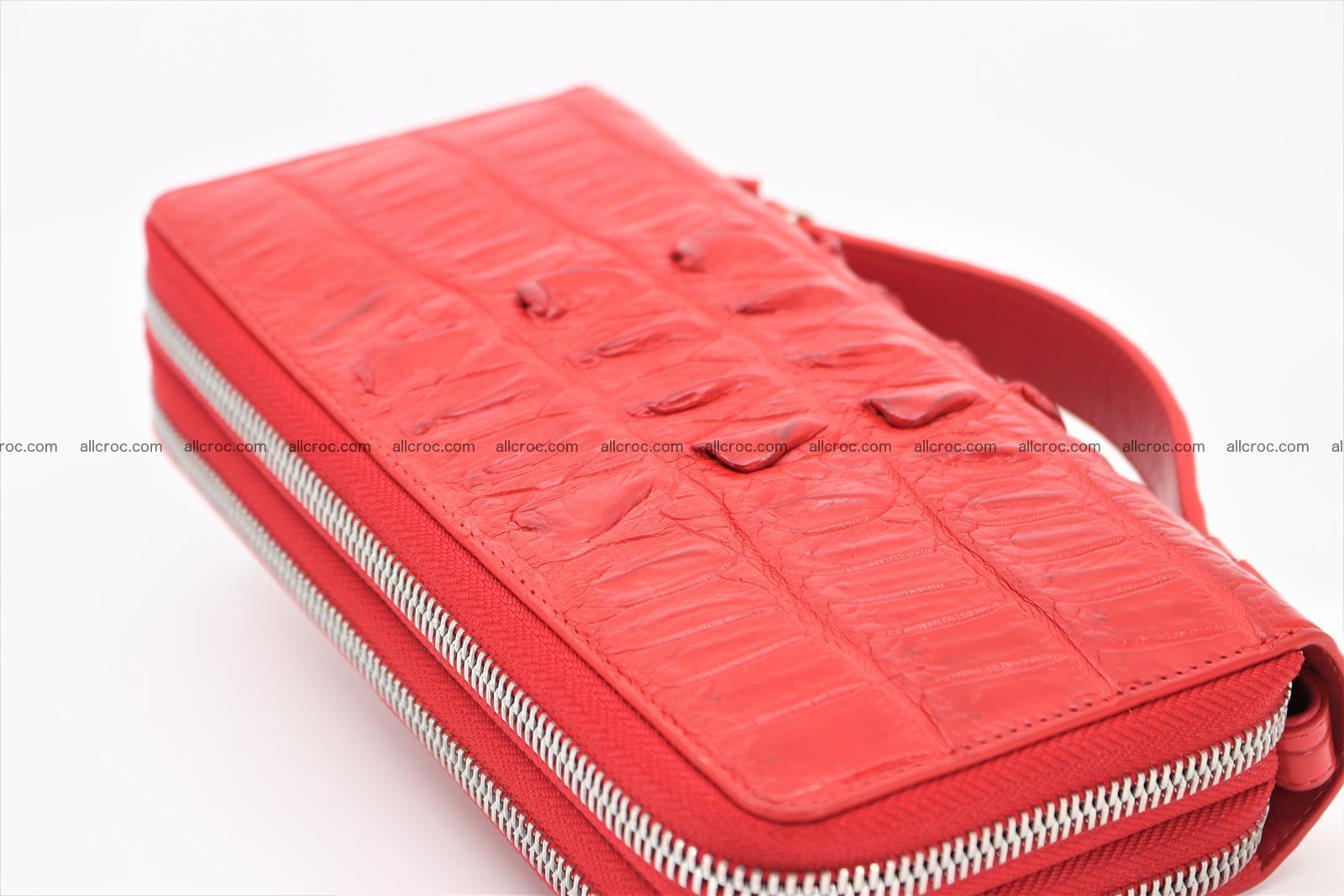 Crocodile skin clutch red color 2 zips 1263 Foto 2