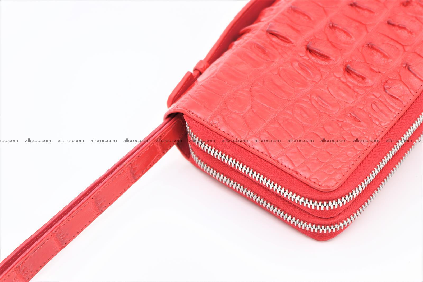 Crocodile skin clutch red color 2 zips 1263 Foto 6
