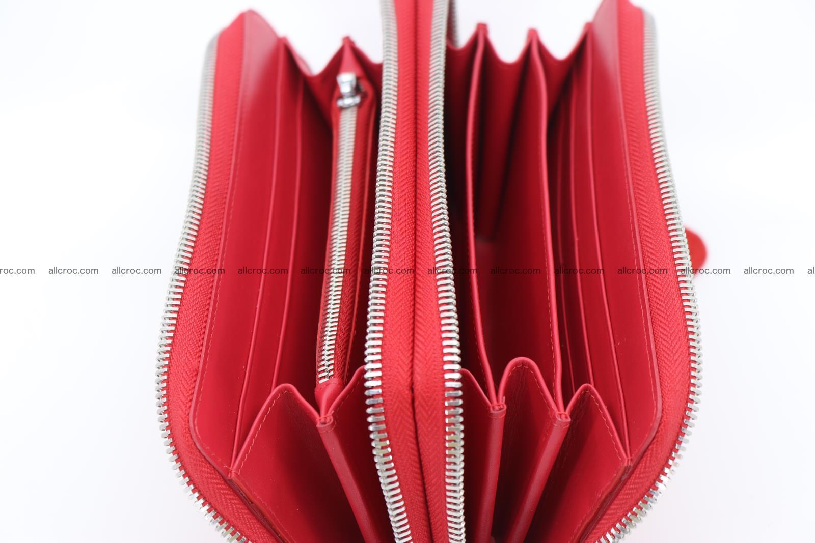 Crocodile skin clutch red color 2 zips 1263 Foto 13