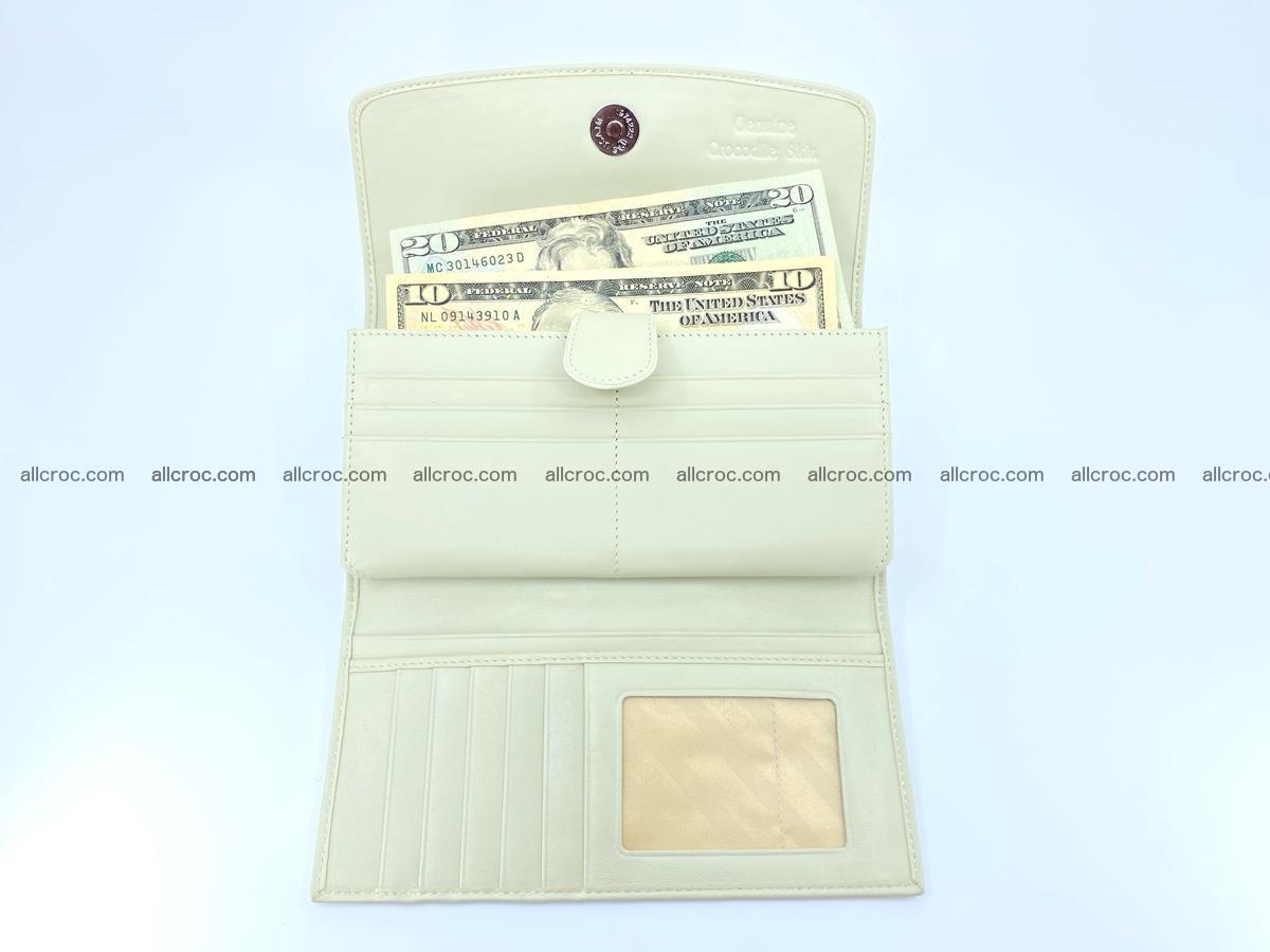 Crocodile skin wallet, long wallet trifold for women 519 Foto 4