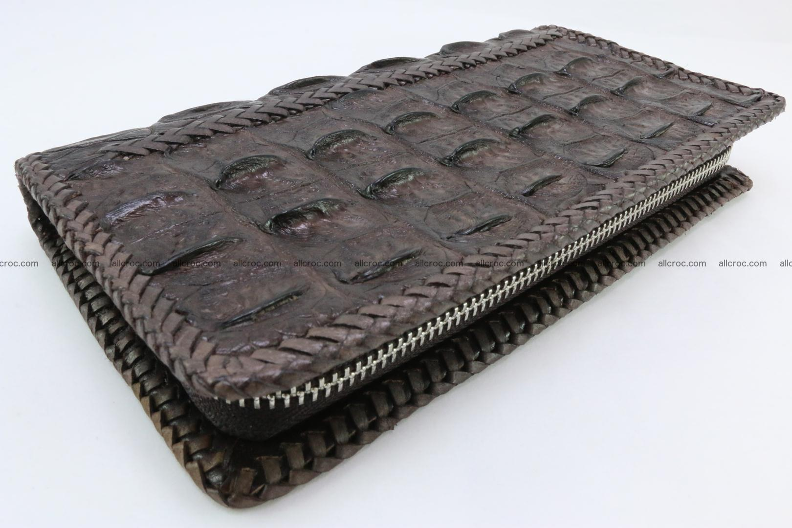 Genuine crocodile hornback wallet with zip 108 Foto 0