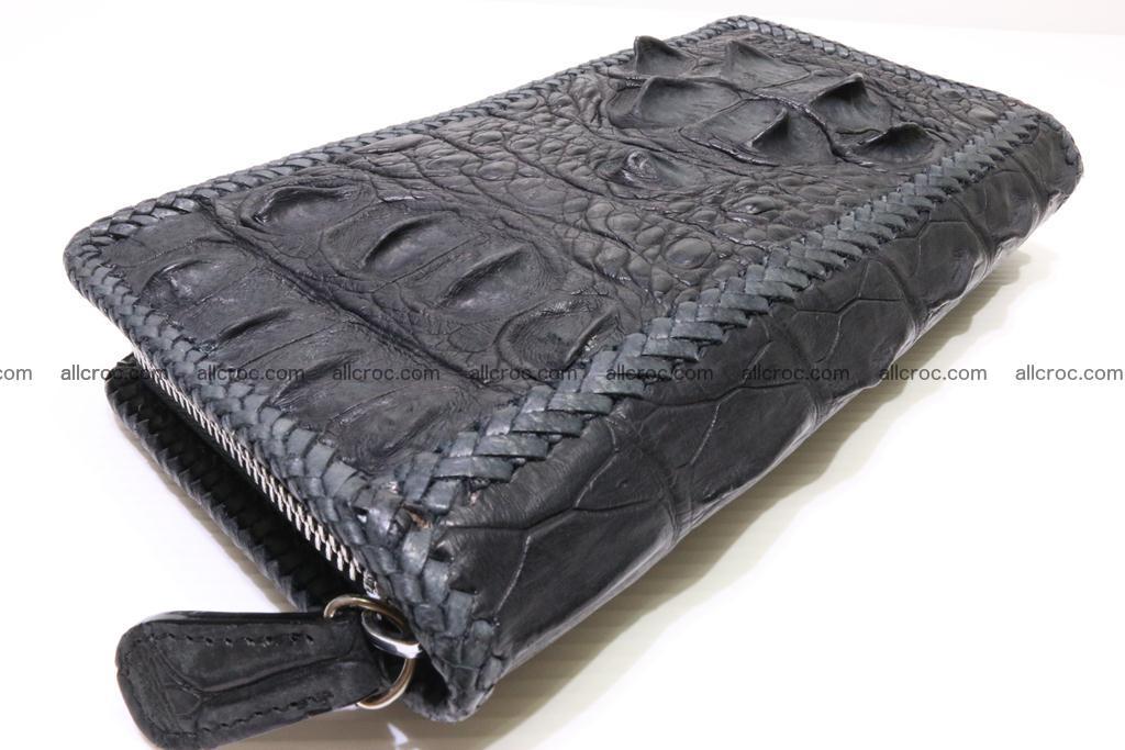 Genuine crocodile hornback wallet with zip 103 Foto 8