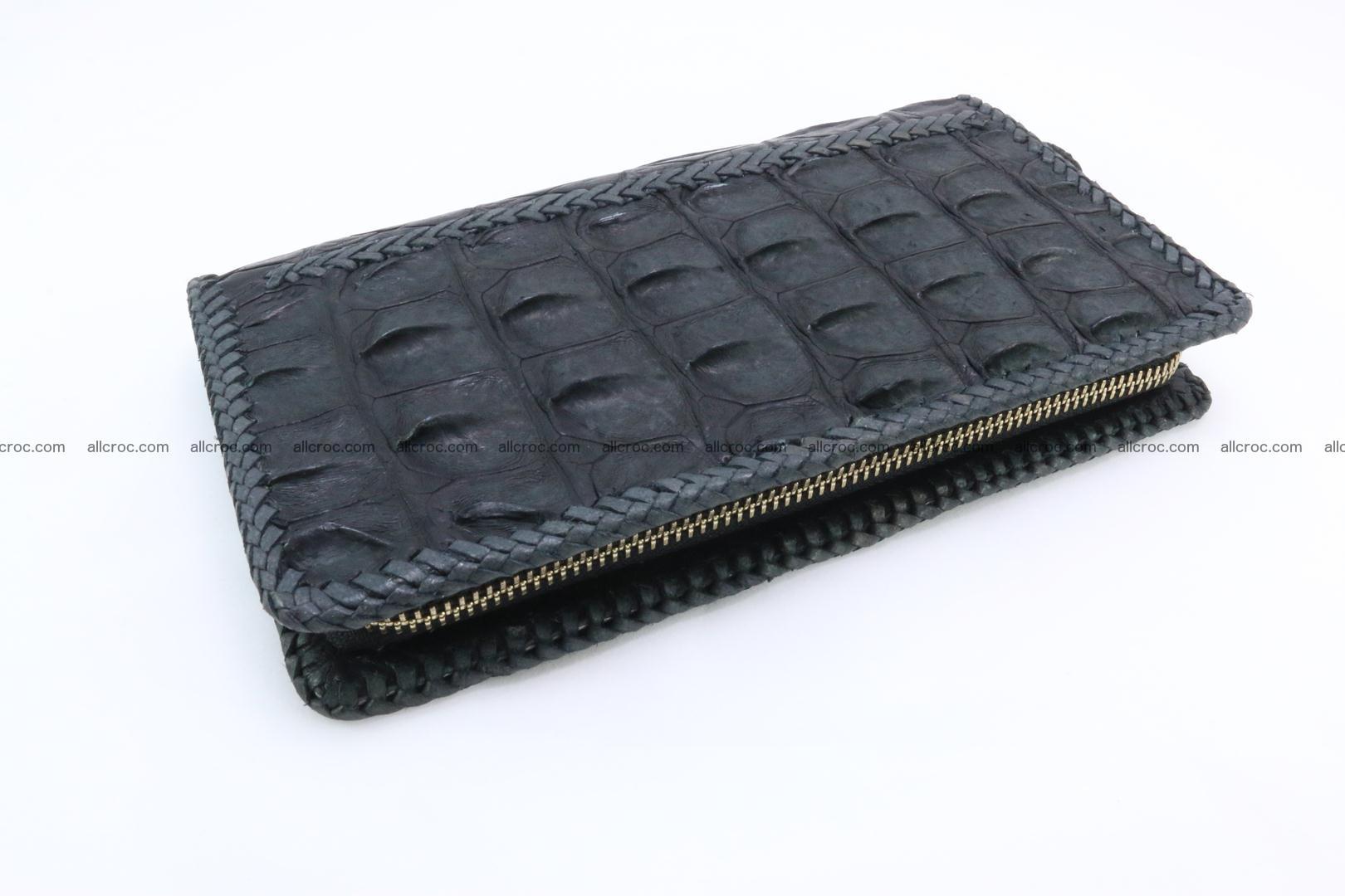 Genuine crocodile hornback wallet with zip 099 Foto 12