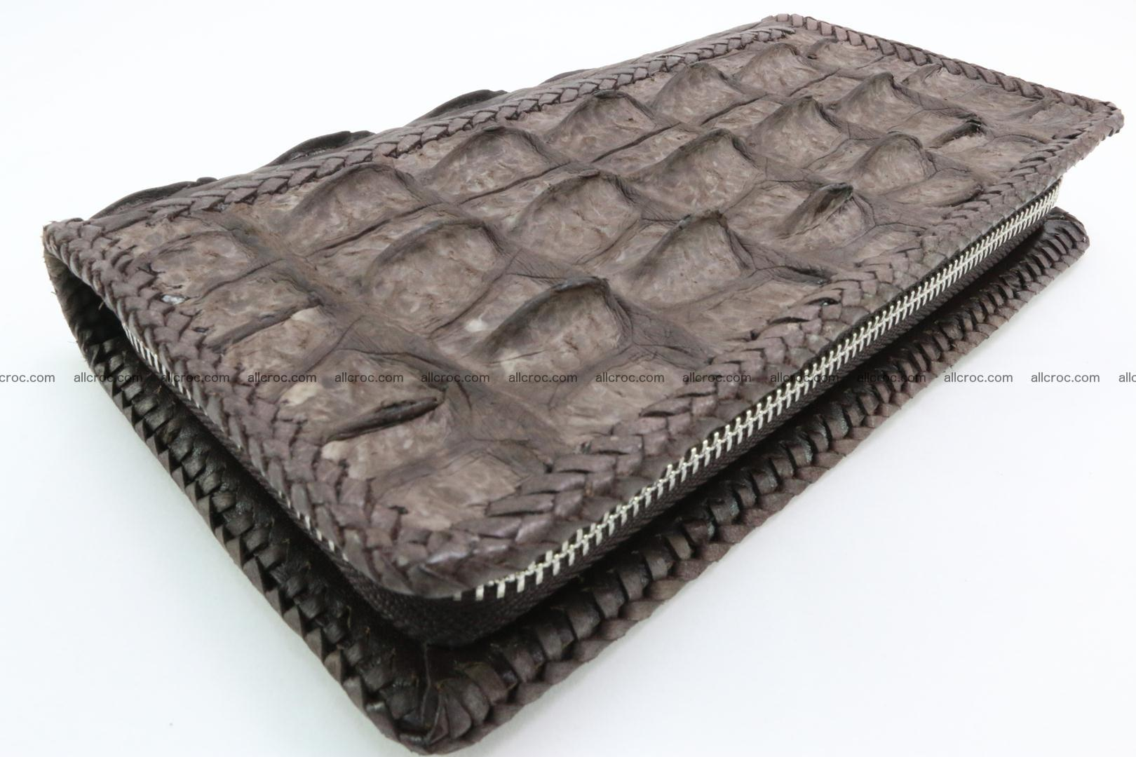 Genuine crocodile hornback wallet with zip 100 Foto 0