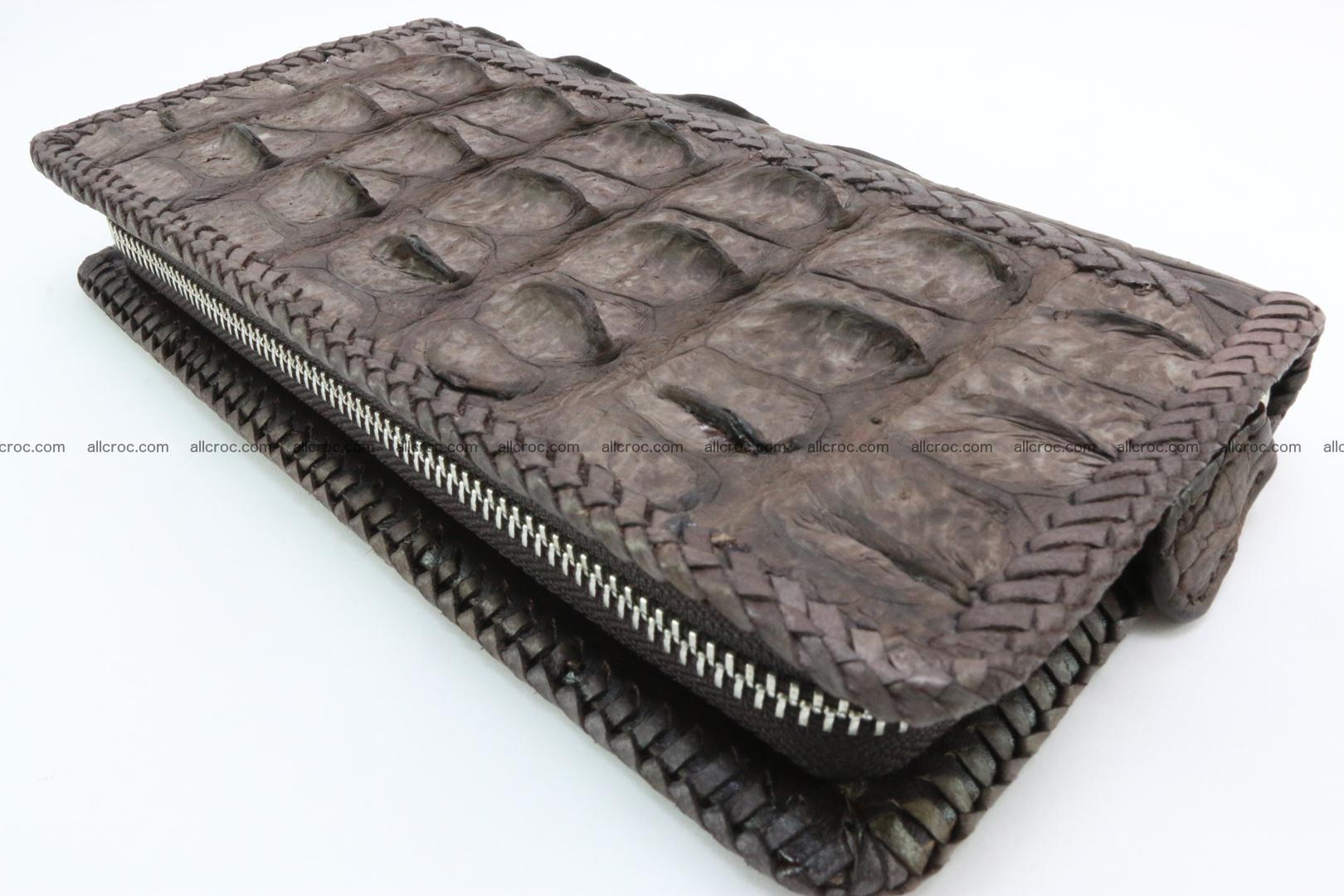 Genuine crocodile hornback wallet with zip 100 Foto 11