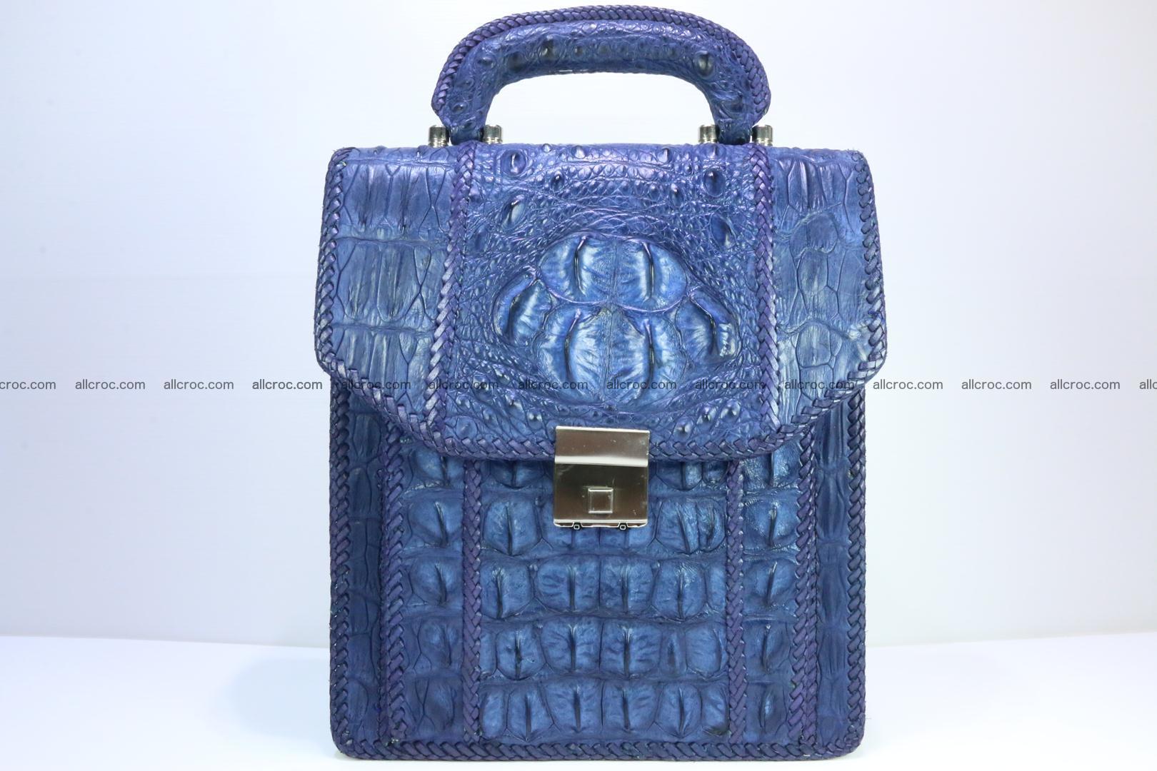 Crocodile skin messenger bag braided edges 419 Foto 0