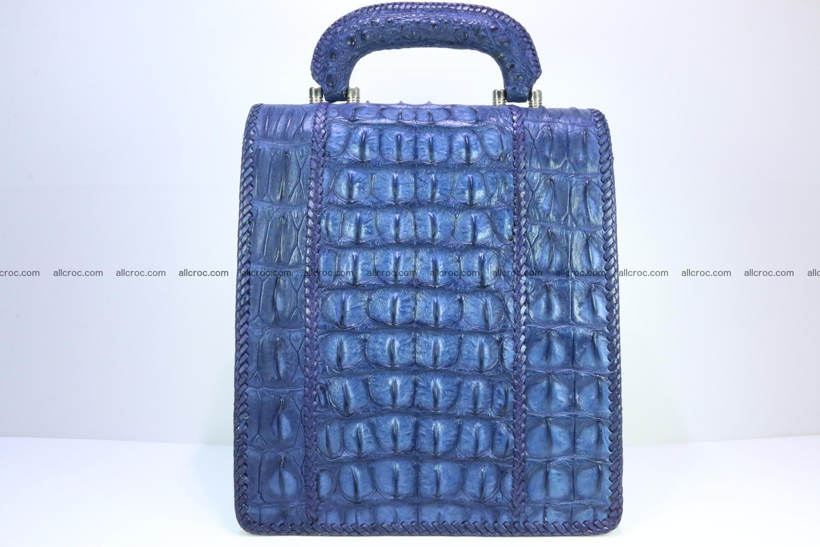 Crocodile skin messenger bag braided edges 419 Foto 3