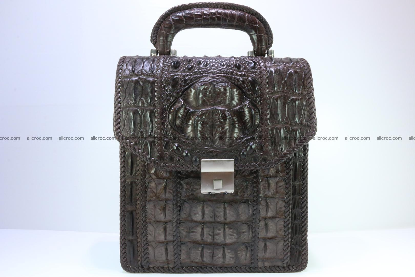 Crocodile skin messenger bag braided edges 138 Foto 0