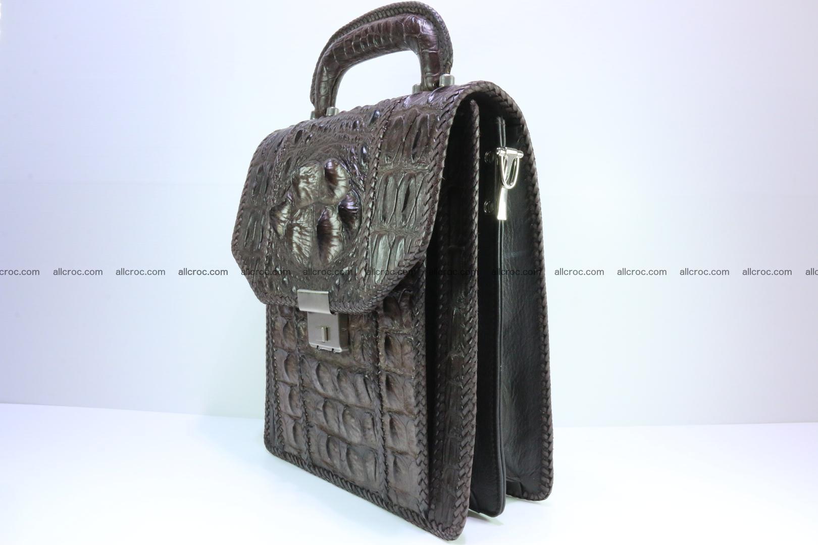 Crocodile skin messenger bag braided edges 138 Foto 2