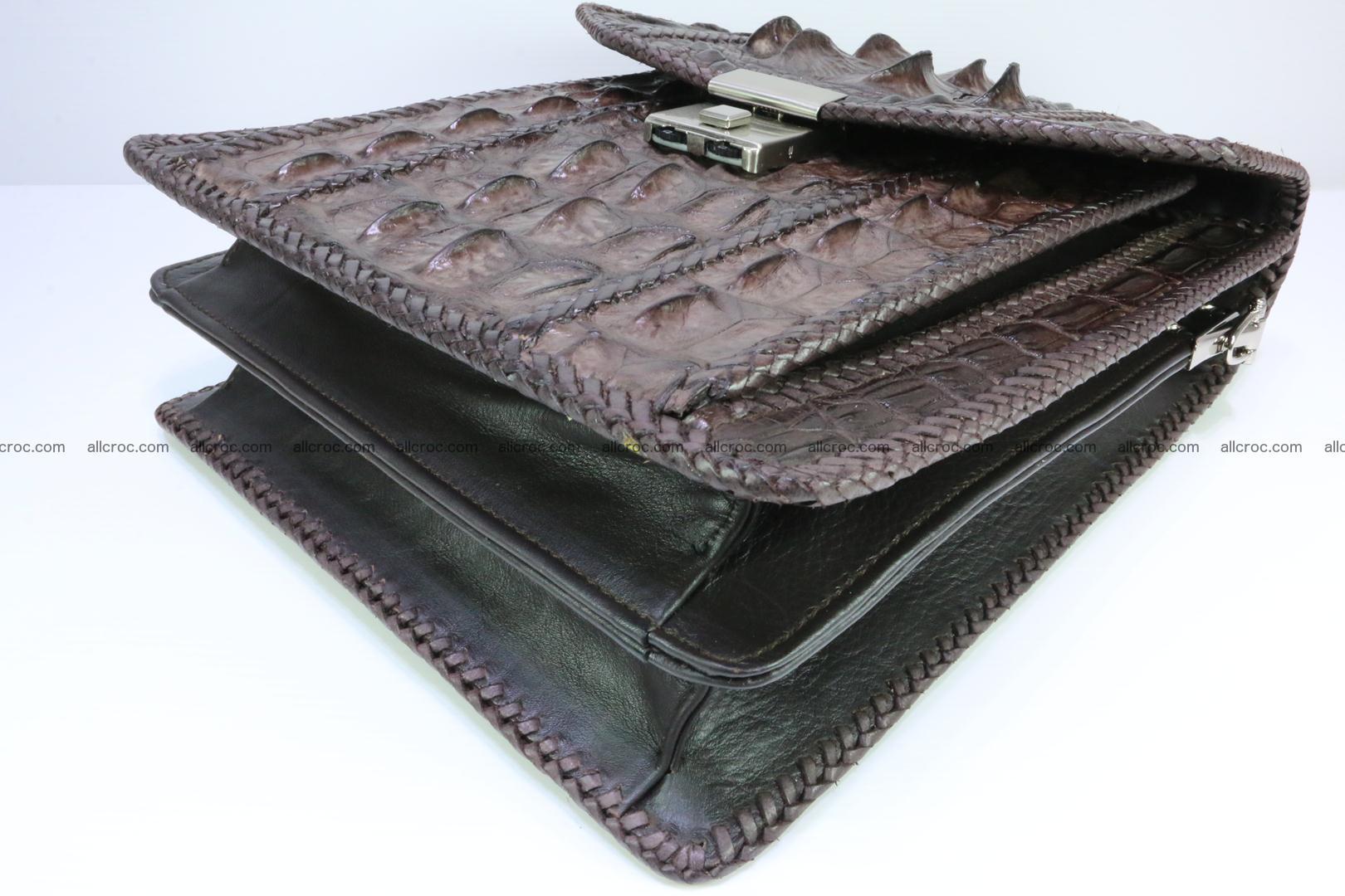Crocodile skin messenger bag braided edges 138 Foto 7