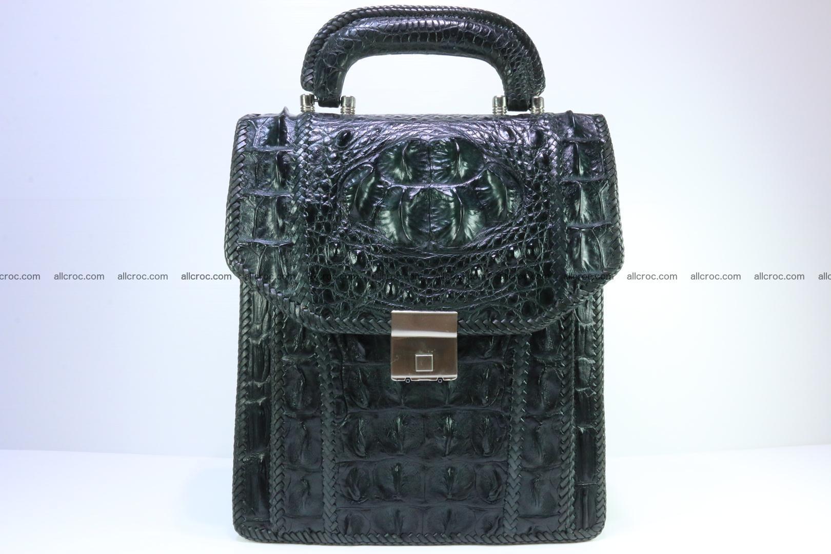 Crocodile skin messenger bag braided edges 139
