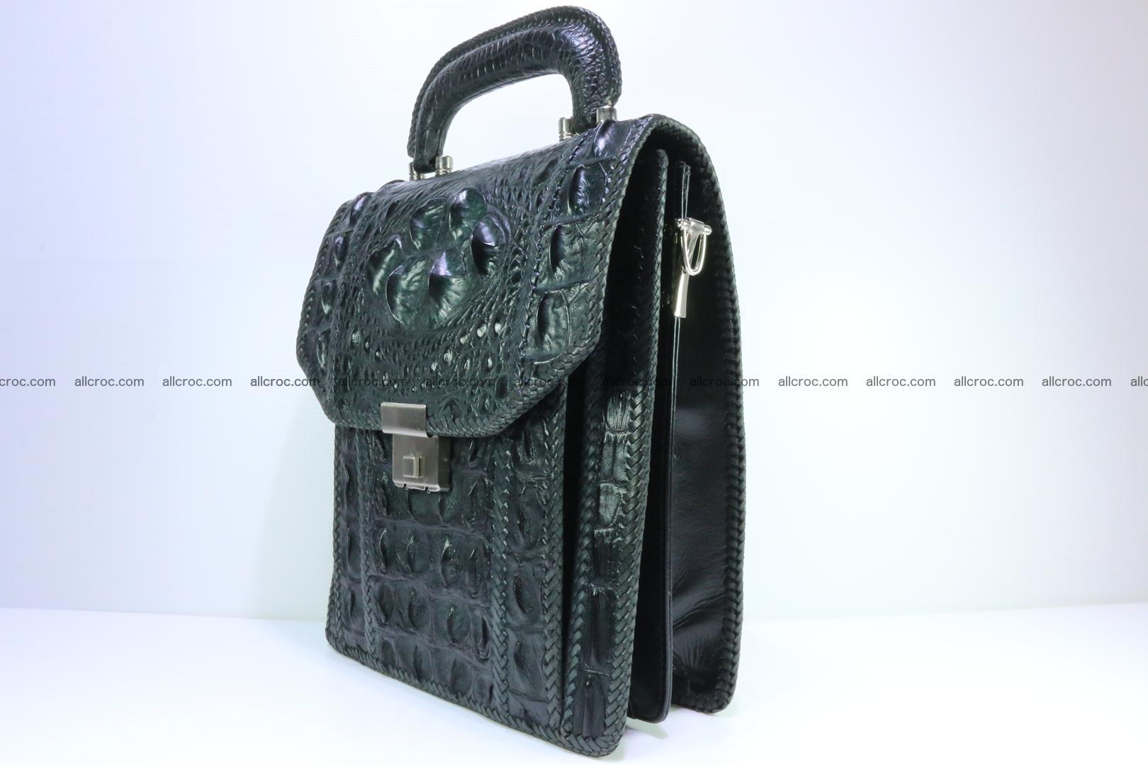 Crocodile skin messenger bag braided edges 139 Foto 2