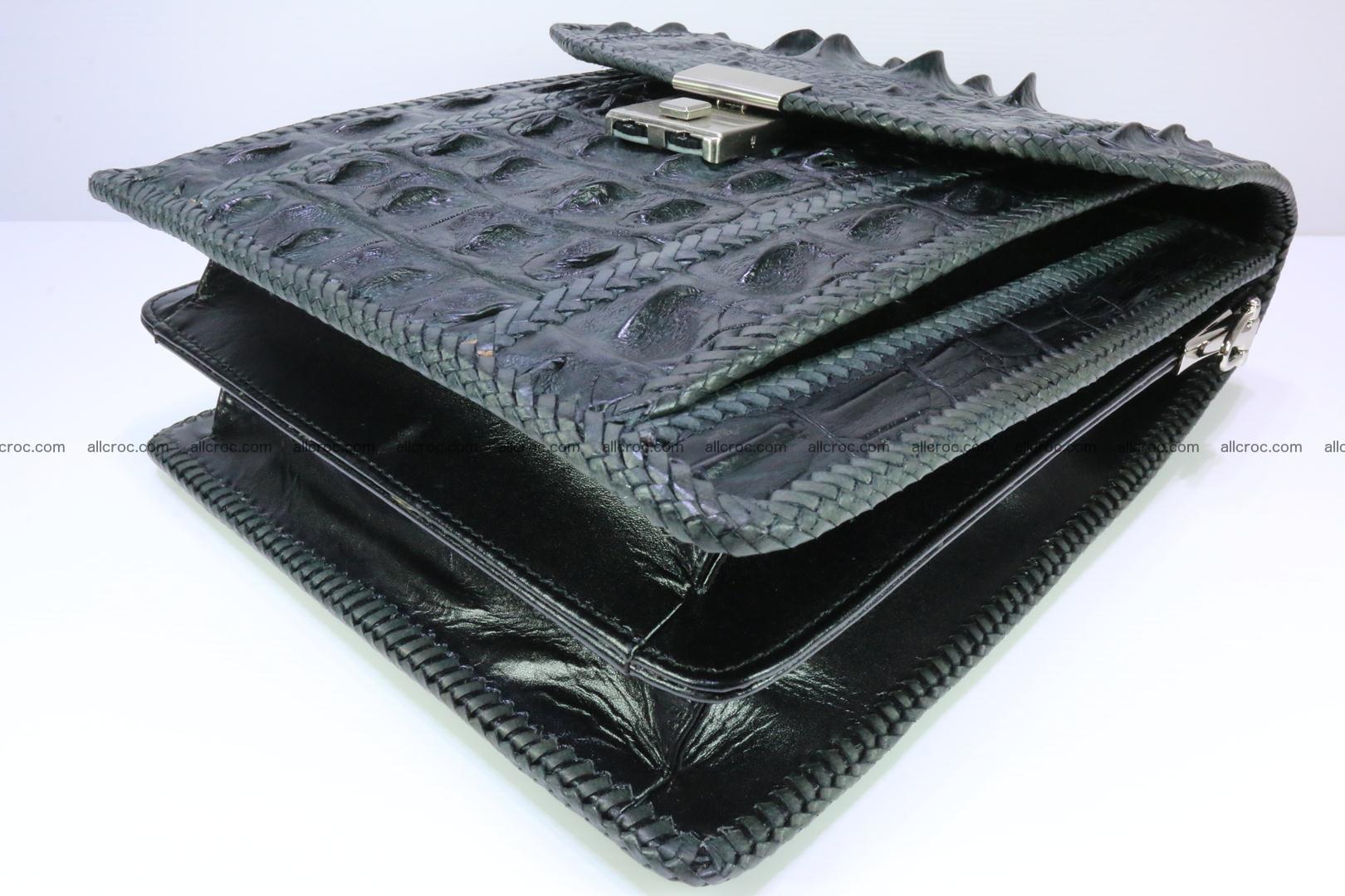 Crocodile skin messenger bag braided edges 139 Foto 7
