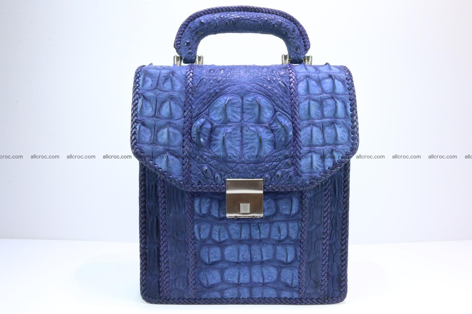 Crocodile skin messenger bag braided edges 422 Foto 0