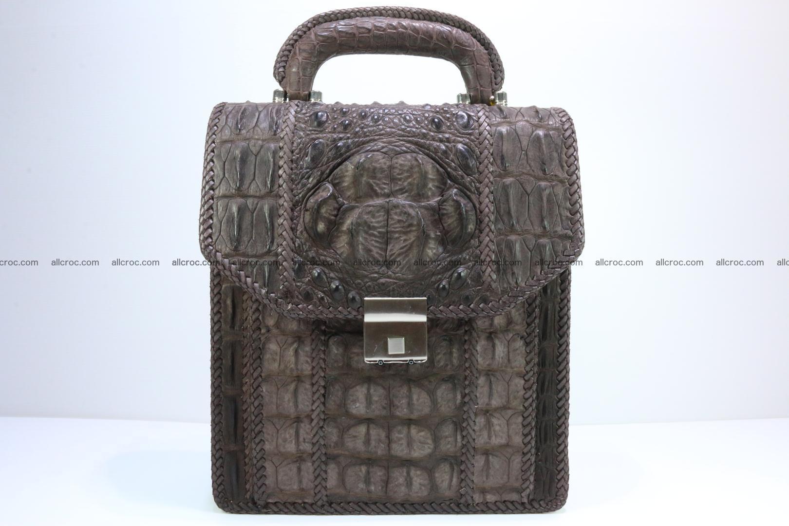 Crocodile skin messenger bag braided edges 421 Foto 0