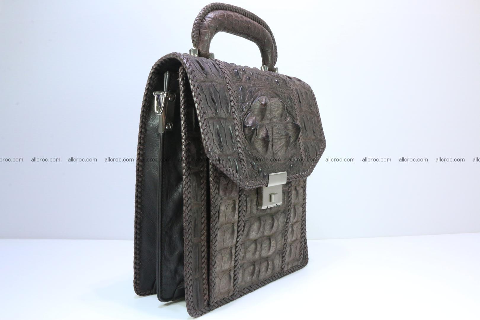 Crocodile skin messenger bag braided edges 421 Foto 2
