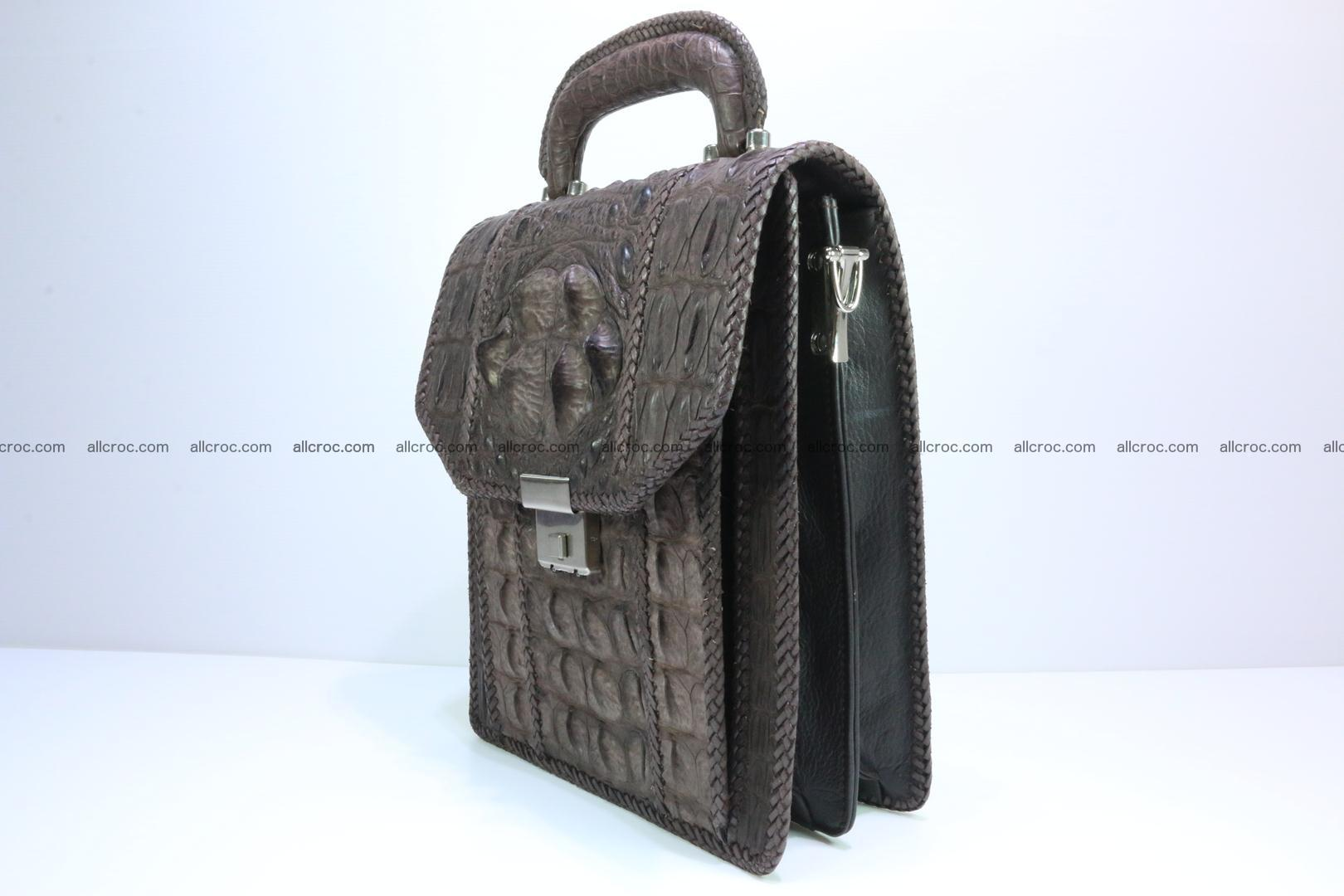 Crocodile skin messenger bag braided edges 421 Foto 3