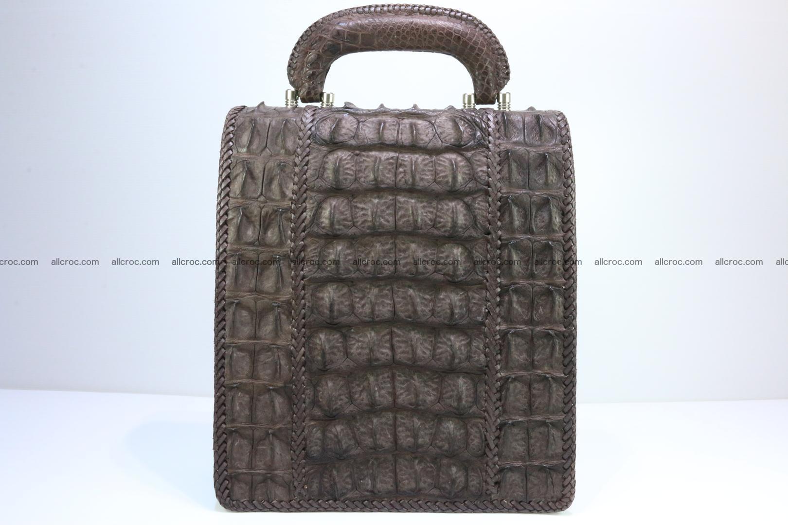 Crocodile skin messenger bag braided edges 421 Foto 1