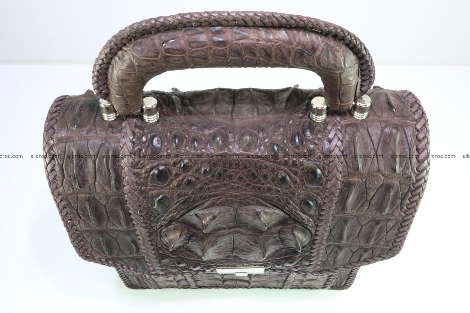 Crocodile skin messenger bag braided edges 421 Foto 8