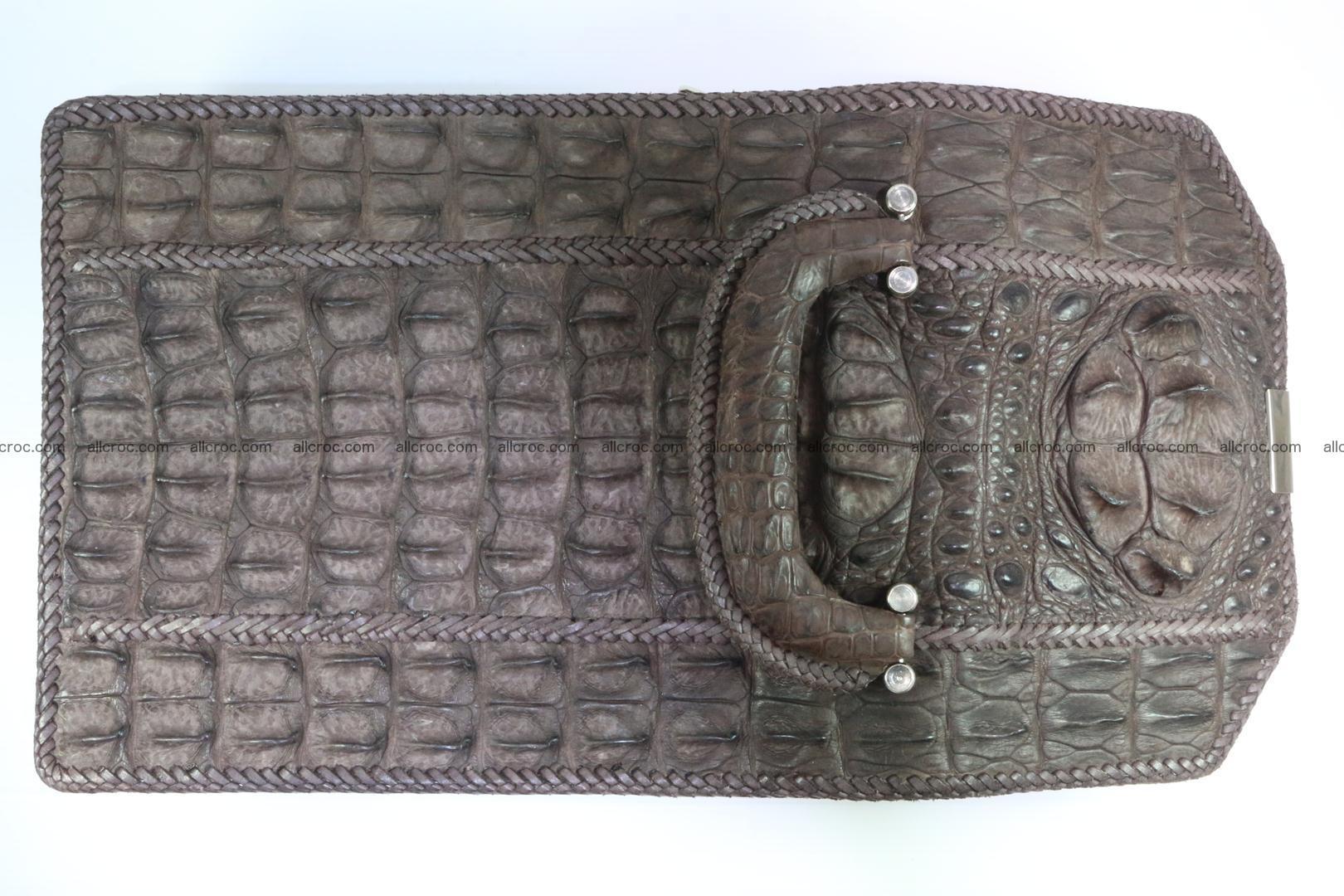 Crocodile skin messenger bag braided edges 421 Foto 6