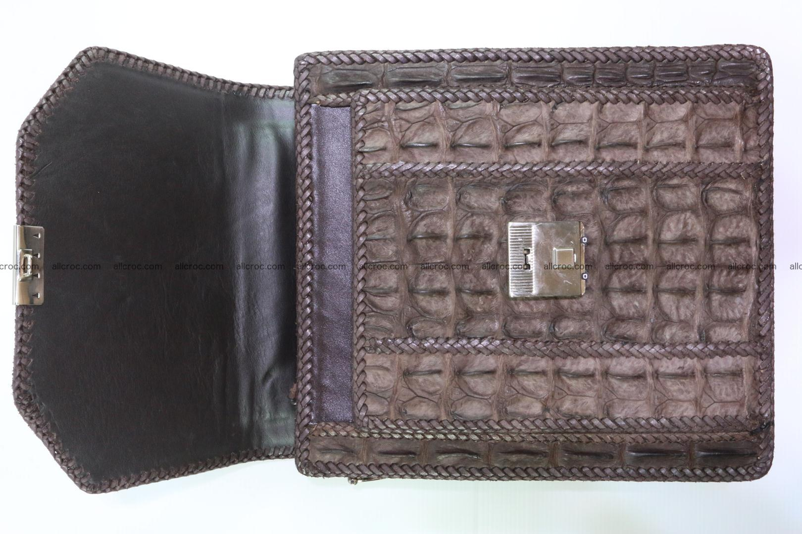 Crocodile skin messenger bag braided edges 421 Foto 7